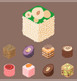 east delicious dessert isolated sweets food vector image vector image