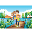 Family standing on the bridge vector image vector image