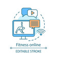 fitness online concept icon chat with personal vector image vector image