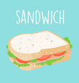 fresh ham sandwich graphic vector image
