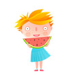 girl eating watermelon vector image vector image