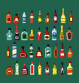 glass bottles alcohol set stylish containers old vector image