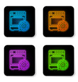 glowing neon oven and gear icon isolated on white vector image vector image