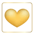 Gold heart 3D Golden grunge vector image
