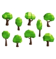 Green abstract polygonal tree icons vector image vector image