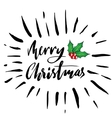 Greeting card with a holly berries and Merry vector image vector image