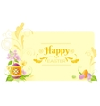 Happy Easter banner border Spring symbols vector image vector image