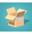 Low poly open empty cardboard box vector image