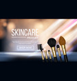 makeup brush banner cosmetic beauty tools vector image