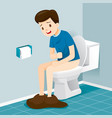 man sitting on toilet suffering of diarrhea and vector image