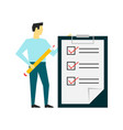 man standing with a big clipboard and to do list vector image vector image