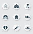 medicine icons set with helicopter stings drug vector image vector image
