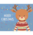 merry christmas celebration cute reindeer with vector image vector image