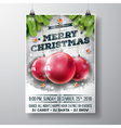 Merry Christmas Party design with glass balls vector image vector image