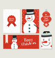 merry christmas snowman card and label set vector image vector image