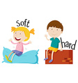 Opposite adjective with soft and hard vector image vector image