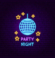 party night neon label vector image vector image
