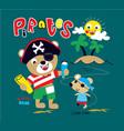 pirate bear animal cartoon art vector image