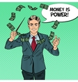 Pop Art Businessman Conducts Money with a Baton vector image vector image
