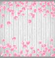 realistic sakura petals on a white wooden vector image