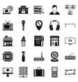 recorder icons set simple style vector image vector image