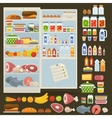 Refrigerator and set of food vector image vector image