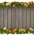 Seamless Christmas Old Board with Gifts vector image vector image
