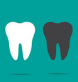 set of two teeth on turquoise background vector image