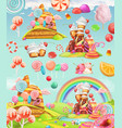 Sweet candy land cartoon game background 3d icon