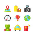 travel flat icons set holiday vacation vector image