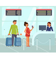 travelers characters with luggage at the airport vector image