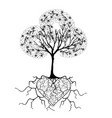 tree with heart 2 vector image vector image