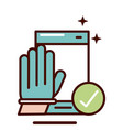 wear glove with smartphone prevent spread vector image vector image