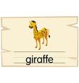 wordcard design for word giraffe vector image