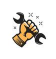 wrench in hand symbol repairs maintenance vector image