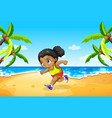 a girl running at the beach vector image
