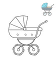 baby stroller black and white line drawing vector image