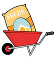Bag Of Flower Seeds In A Wheel Barrow vector image vector image