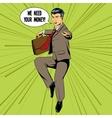 Businessman flying matrix style pop art vector image