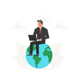 businessman with laptop sits on a big planet vector image vector image