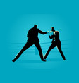 businessmen in boxing ring fighting each other vector image