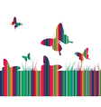 Butterflies and colorful grass background vector image vector image