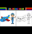 coloring book with pilot kid and airplane vector image