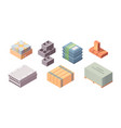 construction materials building isometric set box vector image