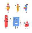 cute pencil character school supply set vector image vector image