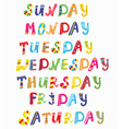 Days of the week funny banners vector image vector image
