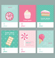 decorative sweets cards banners collection vector image vector image