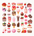 delicious desserts chocolate and strawberry vector image vector image