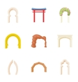 Different arches icons set cartoon style vector image