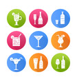 drinks flat design long shadow glyph icons set vector image